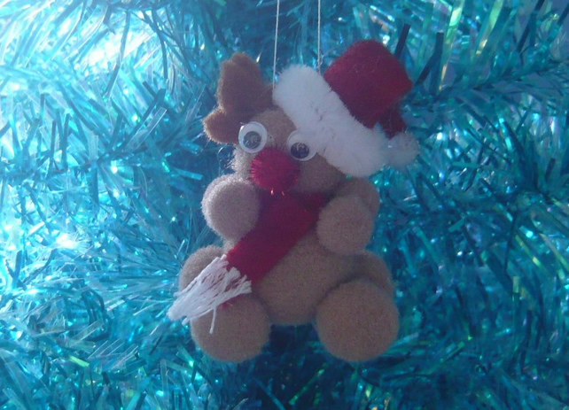 CHRISTMAS Tree Pom Pom Red Nose Reindeer Decoration