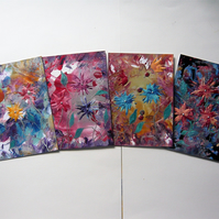 SALE!! BARGAIN!! (Pack of 4) 4x6 Fantasy Flower Paintings 010.