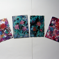 SALE!! BARGAIN!! (Pack of 4) 4x6 Fantasy Flower Paintings 012.