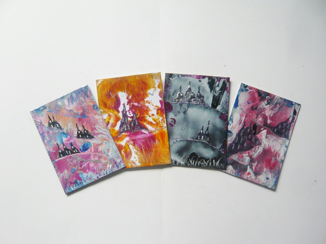 SALE!! BARGAIN!! (Pack of 4) ACEO Fantasy Castle Paintings With GLITTER 004.