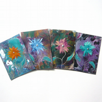 SALE!! BARGAIN!! (Pack of 4) ACEO Impression Flower Paintings 005.