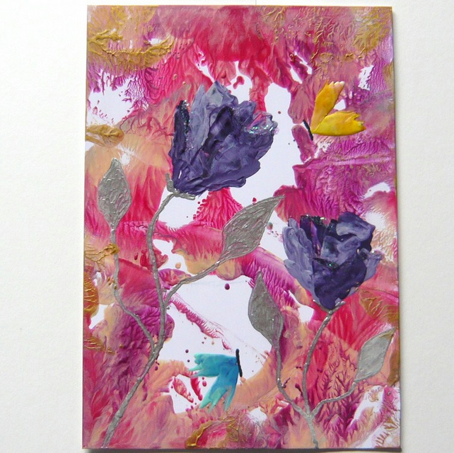 4x6 Rose Painting With GLITTER 025.