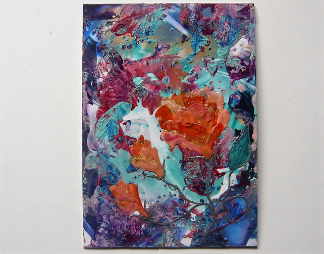 4x6 Rose Painting With GLITTER 029.