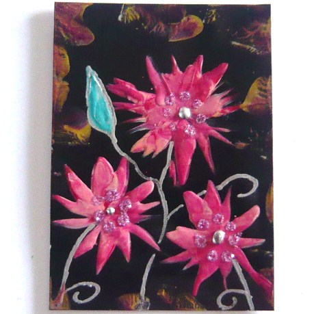 ACEO Fantasy Flower Painting With GLITTER 009.