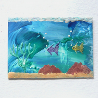 ACEO Sea Life Painting With GLITTER 001.
