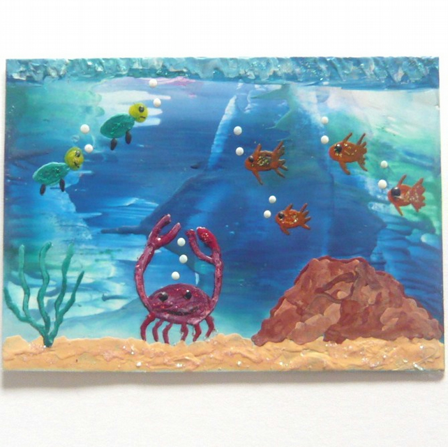 ACEO Sea Life Painting With GLITTER 002.