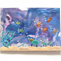 ACEO Sea Life Painting With GLITTER 004.