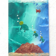 ACEO Sea Life Painting With GLITTER 006.