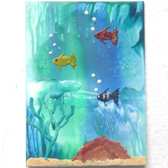 ACEO Sea Life Painting With GLITTER 005.