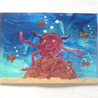 ACEO Sea Life Painting With GLITTER 007.