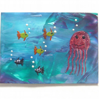 ACEO Sea Life Painting With GLITTER 008.
