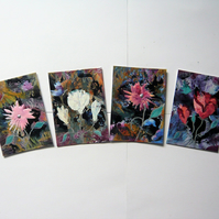 SALE!! BARGAIN!! (Pack of 4) ACEO  Flower Paintings With GLITTER 006.