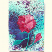 ACEO Rose Mixed Media Painting With GLITTER 001.