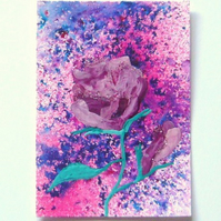 ACEO Rose Mixed Media Painting 002.