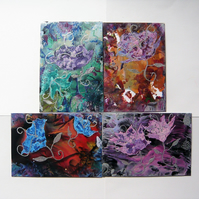 SALE!! BARGAIN!! (Pack of 4) 4x6 Fantasy Flower Paintings 014.