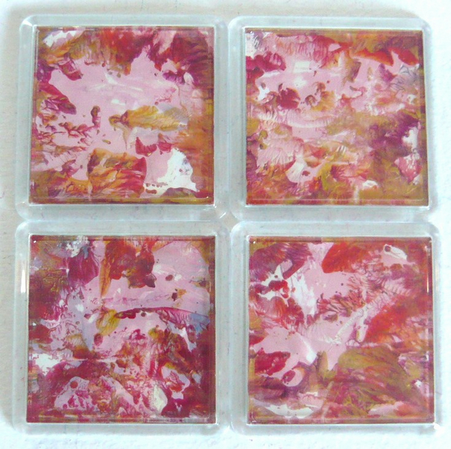 Set Of 4 Wax Art Coasters 002.