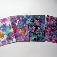 SALE!! BARGAIN!! (Pack of 4) 4x6 Fantasy Flower Paintings 013.