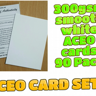 ACEO Blank Cards - 90 cards with Certificates and plastic sleeves complete set
