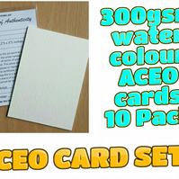ACEO Blank Cards - 10 cards with Certificates and plastic sleeves complete set