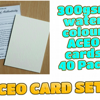 ACEO Blank Cards - 40 cards with Certificates and plastic sleeves complete set