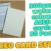 ACEO Blank Cards - 50 cards with Certificates and plastic sleeves complete set