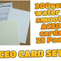 ACEO Blank Cards - 25 cards with Certificates and plastic sleeves complete set