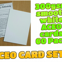 ACEO Blank Cards - 60 cards with Certificates and plastic sleeves complete set