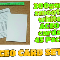 ACEO Blank Cards - 45 cards with Certificates and plastic sleeves complete set