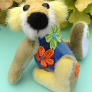 OOAK, miniature, artist bear, multi coloured, Botany Bear