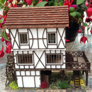 One forty eighth scale, finished model, Tudor style, mill, dolls house miniature