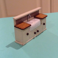 One forty eighth, dolls house, miniature, double sink and cabinet