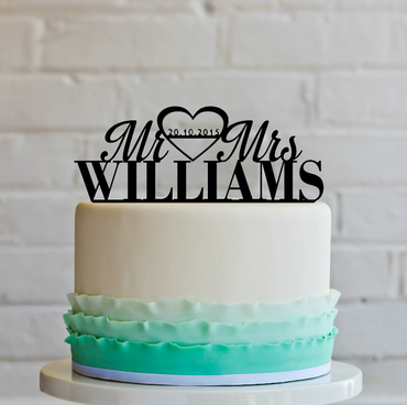 Personalized Mr&Mrs Custom Wedding Cake Topper with your last name and date.
