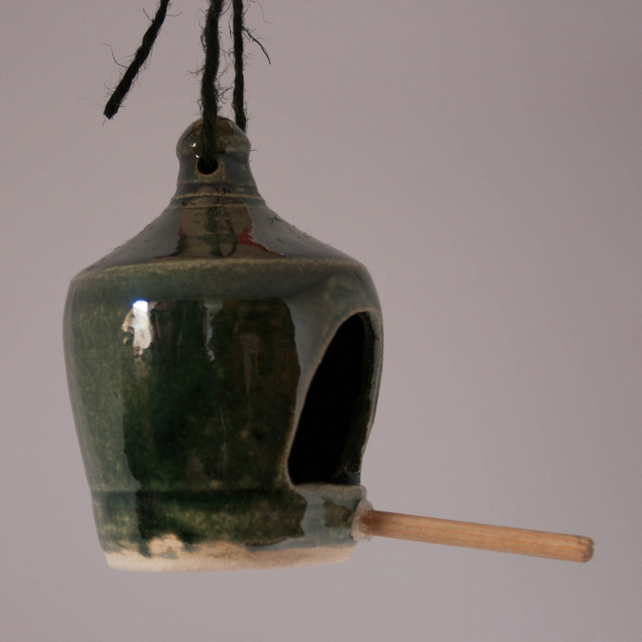 Green Stoneware bird feeder 1