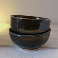 Pair of Stoneware snack bowls