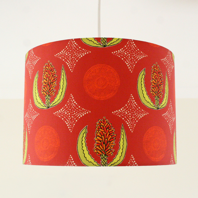 Red Aloe Handmade Lampshade - pendant or stand type