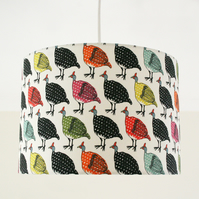 Colourful Guinea Fowl Handmade Lampshade - pendant or stand type