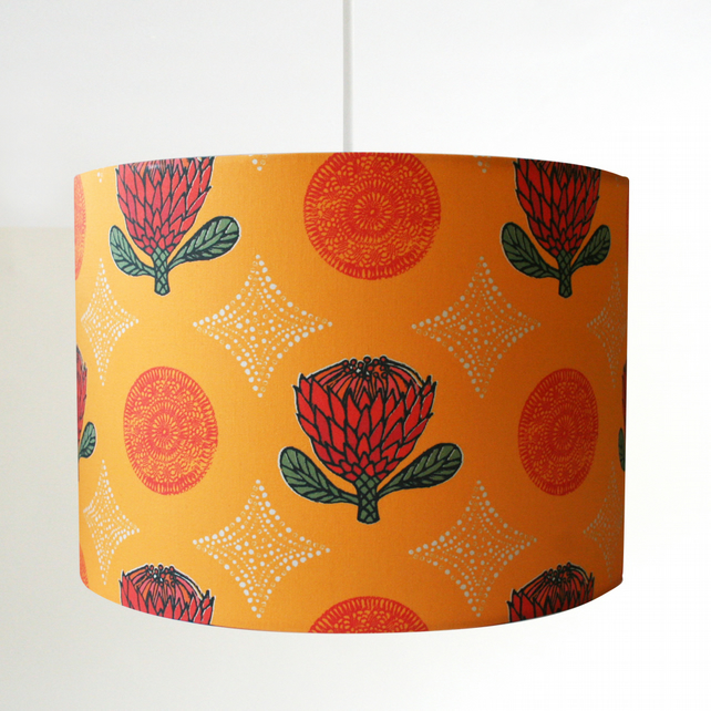 Orange Protea Handmade Lampshade - pendant or stand type