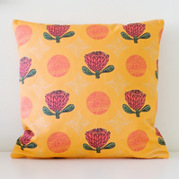Orange Protea Flower Handmade Cushion Cover