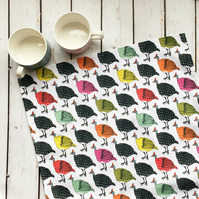 Colourful guinea fowl cotton tea towel