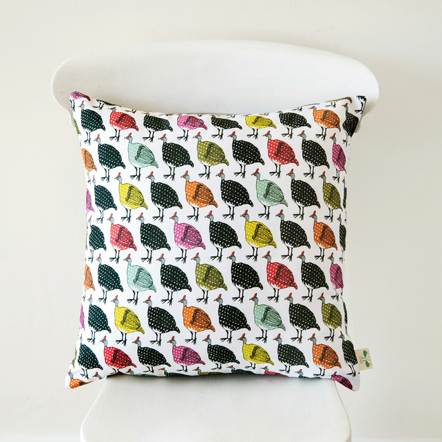 Colourful Vintage Guineafowl Handmade Cushion Cover in Cotton Half Panama