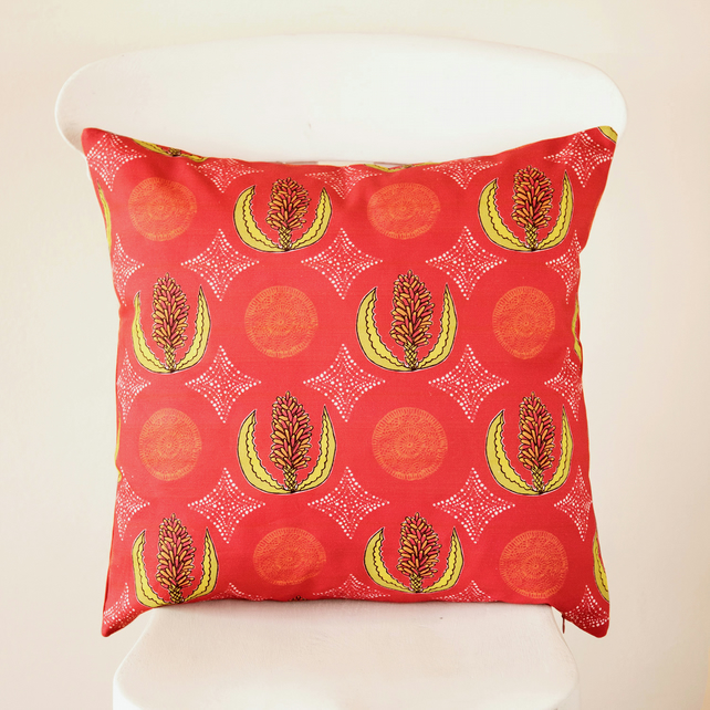 Colourful Red Cape Aloe Flower Handmade Cushion Cover