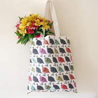 Colourful guinea fowl shopping or beach bag