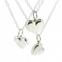 Solid Silver Heart pendant: frosted finish
