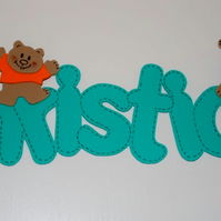 Children's room signs - Funky foam names (6 letters or more)