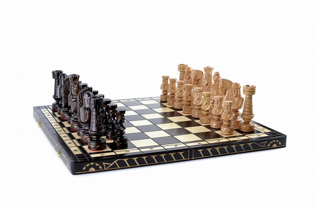 wooden chess board chessboard full set 3