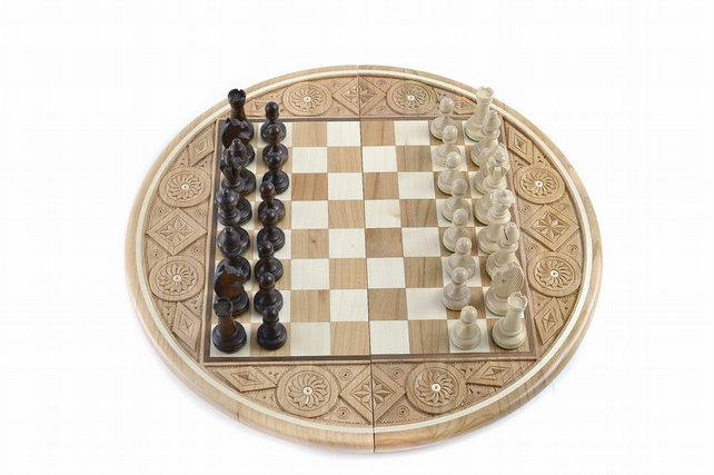 wooden chess board chessboard full set 4