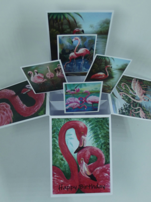 Birthday Card with Flamingos