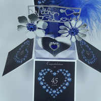 45th Sapphire Wedding Anniversary Card