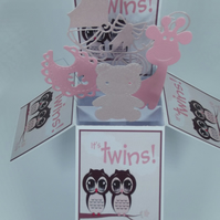 New Baby Card For Boy & Girl Twins