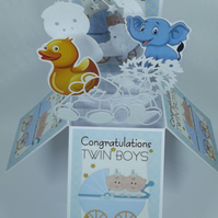 New Baby Card For Boy Twins